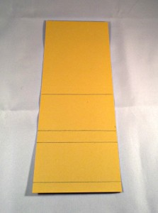 """The cardstock for the calendar base: 4 3/8"""" x 10 1/2"""" and scored at 1/2"""", 2 1/2"""", 3 1/8"""", 5 3/8""""."""