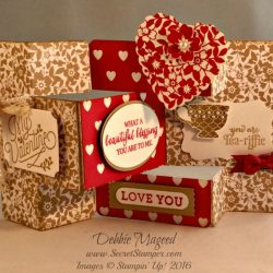 By Debbie Mageed, Bloomin Love, Bloomin Heart, Merry Everything, Valentines Day, Tri Shutter Card, Gift Box, Stampin Up