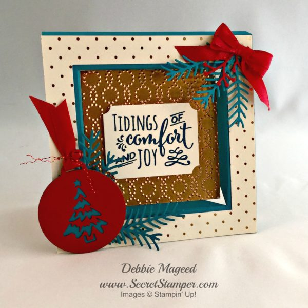 Christmas Pines, Wrapped in Warmth, Merry Tags Framelits, frame card, fun fold, stampin up