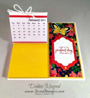 By Debbie Mageed, Bunch of Blossoms, Watercolor Wings, Floral Affection Embossing Folder, Calendar, Post it note holder, Stampin Up