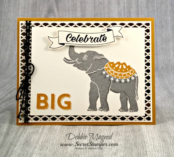 By Debbie Mageed, Lucky Elephant, Birthday Bright, Stampin Up