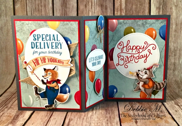 By Debbie Mageed, Birthday Delivery, Birthday Friends Framelits, Fun Fold, Z Fold, Masculine, Stampin Up