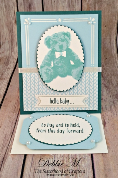 By Debbie Mageed, Baby Bear, Baby, boy, Easel Card, Fun Fold, Card Front Builder Thinlits, Stampin Up