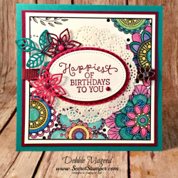 By Debbie Mageed, Birthday Blooms, Just Kidding, Flourish Thinlits, Watercolor Pencils, Stampin Up
