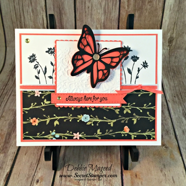 Elegant Spring Card featuring #BackgroundBits, #SharingSweetThoughts, #WholeLotofLovely, #StampinUp, #SecretStamper