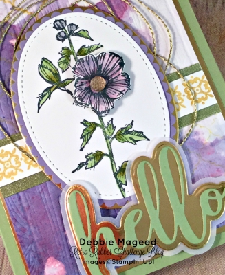 Fun Brusho Watercolor Floral Card featuring #FabulousFlora, #BackgroundBits, #HelloFriend, #BrushoInk, #AllOccasion, #SecretsToStamping, #StampinUp