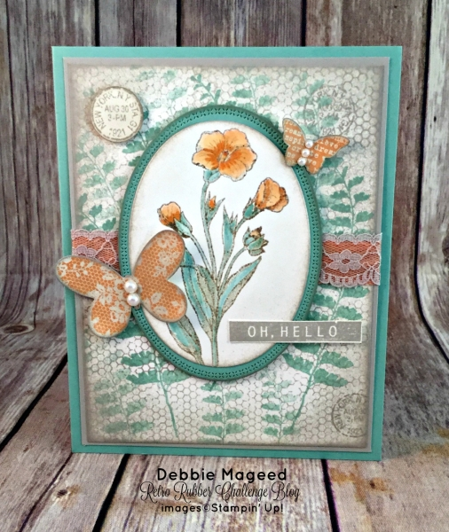 Beautiful Vintage Card Featuring #ButterlyBasics, #ColorMeHappy, #AllOccasion, #SecretsToStamping, #StampinUp