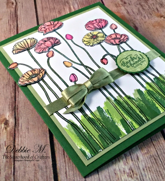 Lovely Spring Floral Card Featuring #PleasantPoppies, #WoodWords, #TouchesofTexture, #ThankYou, #Poppies, #SecretsToStamping, #StampinUp
