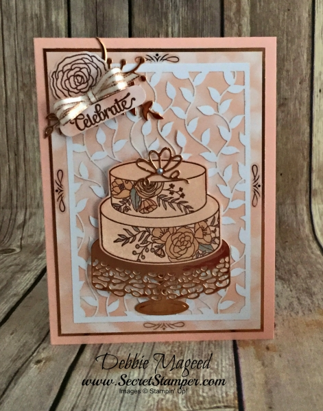 Elegant Card Featuring #CakeSoiree, #SweetCakeFramelits, #DelightfullyDetailedLaserCut, #BeautifulBouquet, #Wedding, #Birthday, #SecretstoStamping, #StampinUp