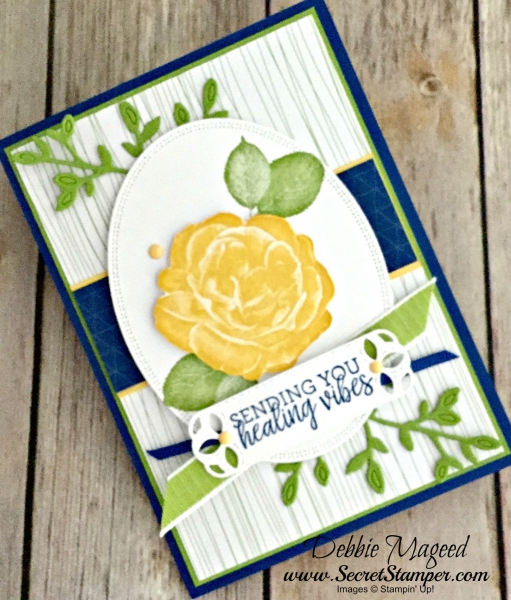 Get Well Card Featuring #HealingHugs, #StitchedLabels, #Petals&More, SecretsToStamping, #StampinUp