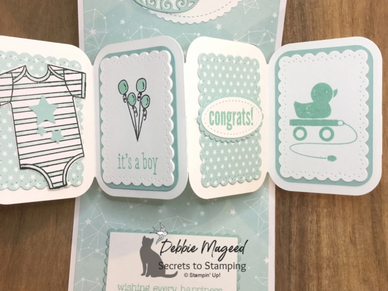 Fun Fold Baby Card Featuring Moon Baby Stamp Set by Stampin' Up!