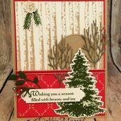 Holiday Card Featuring #WinterWoods, #StillNight, #Christmas, #Holiday, #SecretsToStamping, #StampinUp