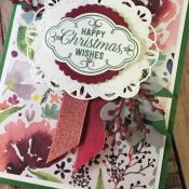 Beautiful Holiday Card Featuring #FlourishFiligree, #FrostedFloral, #StitchedLabels, #Christmas, #Holiday, #SecretsToStamping, #StampinUp