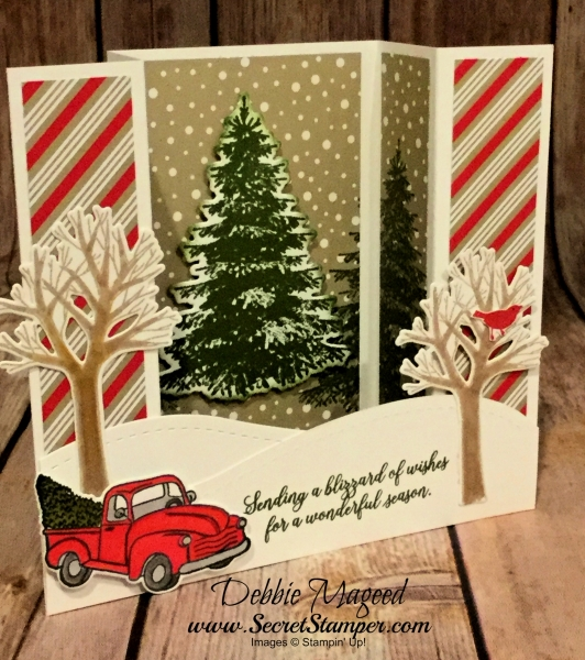 U Fun Fold Holiday Card Featuring #FarmhouseChristmas, #WinterWoods, #SnowIsGlistening, #Holiday, #Christmas, #SecretsToStamping, #StampinUp