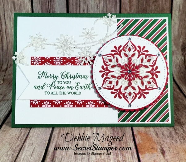 Fun Holiday Card Featuring #HappinessSurrounds, #SnowisGlistening, #Christmas, #Holiday, #SecretsToStamping, #StampinUp