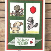 Fun Birthday Card for kids using Bella & Friends and Pretty Kitty by Stampin