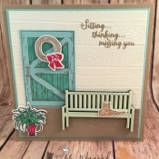 Pretty Country Card Featuring Sitting Pretty, Barn Door and Sitting Here Stamp Sets by Stampin