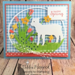 Spring Card with Pretty Gingham paper from Stampin Up!