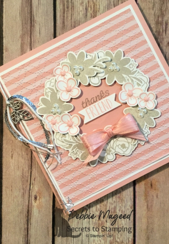 Sweet Wreath Card Made from Bouquet Blooms by Stampin' Up!