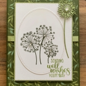 Pretty Birthday Card Featuring Dandelion Wishes by Stampin