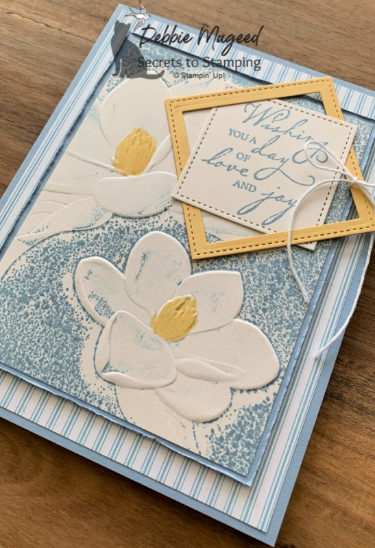 Pretty Celebration Card Featuring Woven Heirlooms and Magnolia Embossing Folder by Stampin' Up!