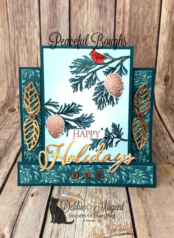 Holiday Center Step Card Featuring Peaceful Boughs Stamp Set by Stampin' Up!
