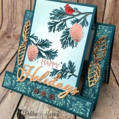 Holiday Center Step Card Featuring Peaceful Boughs Stamp Set by Stampin