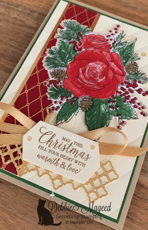 Elegant Holiday Card Featuring Christmas Rose Stamp Set by Stampin' Up!
