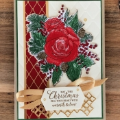 Elegant Holiday Card Featuring Christmas Rose Stamp Set by Stampin